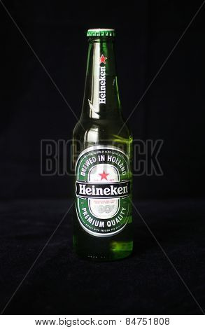 MONTREAL, CANADA - FEBRUARY 11, 2015: Heineken is a Dutch brewing company, founded in 1864 The original brewery in Amsterdam closed in 1988 and  is the third largest brewer in the world.