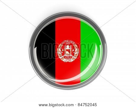 Round Button With Flag Of Afghanistan