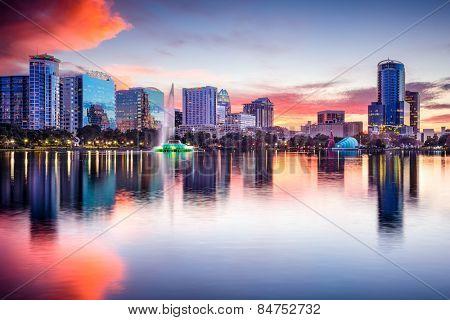 Orlando, Florida, USA skyline at Eola Lake.