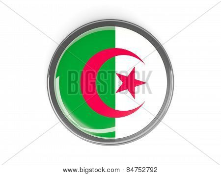 Round Button With Flag Of Algeria