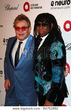 LOS ANGELES - FEB 22:  Elton John, Nile Rodgers at the Elton John Oscar Party 2015 at the City Of West Hollywood Park on February 22, 2015 in West Hollywood, CA