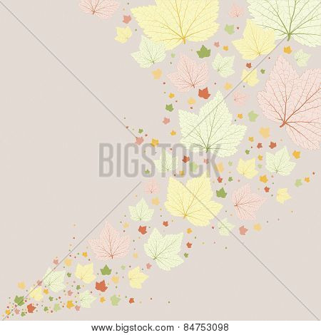 Vector Background. Green Leaves With Veins.