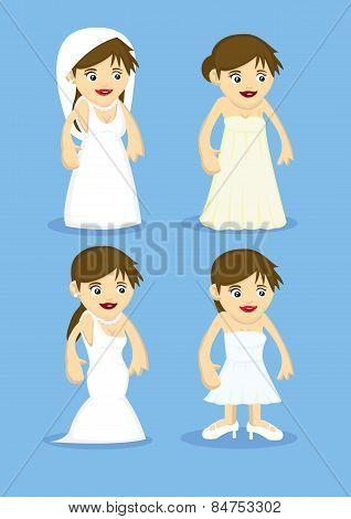 Bridal Fashion Vector Cartoon Illustration