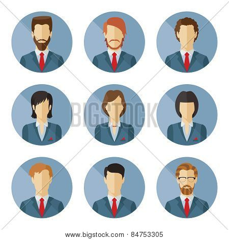 Set Of Vector Business Characters In Flat Design.