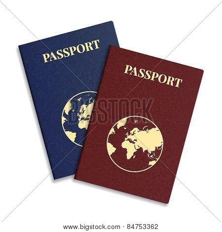 Vector International Passport With Globe.