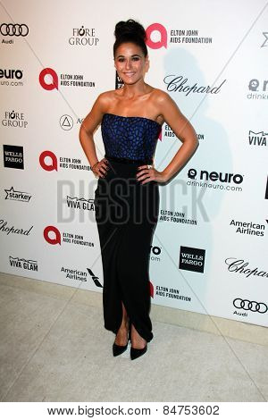 LOS ANGELES - FEB 22:  Emmanuelle Chiriqui at the Elton John Oscar Party 2015 at the City Of West Hollywood Park on February 22, 2015 in West Hollywood, CA