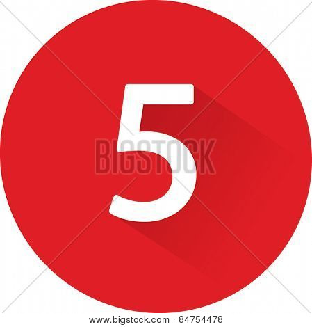 Number 5 on white background. Vector illustration