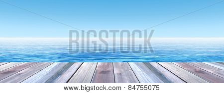 Concept or conceptual old wood or wooden deck on coast of exotic blue clear sea or ocean waves and sky vacation or tourism background, metaphor to travel, summer, tropical, relax, resort or lifestyle