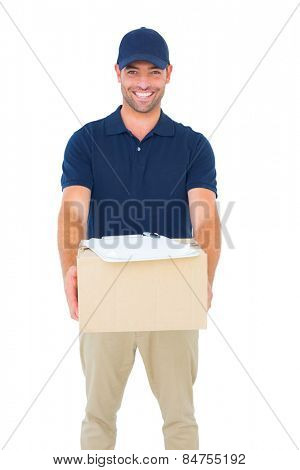 Portrait of handsome courier man with parcel on white background