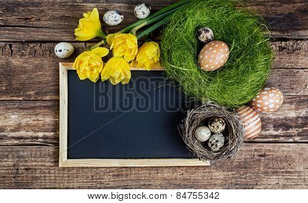 Easter Decorations And Black Board