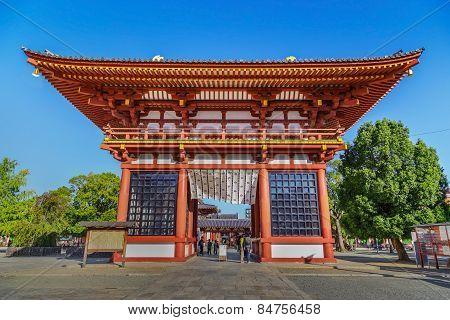 Saidaimon (West Gate) at Shitennoji Temple in Osaka Japan
