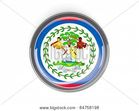 Round Button With Flag Of Belize
