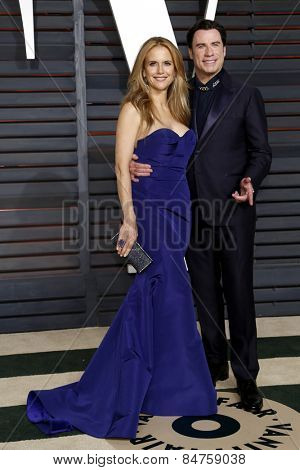 LOS ANGELES - FEB 22:  Kelly Preston, John Travolta at the Vanity Fair Oscar Party 2015 at the Wallis Annenberg Center for the Performing Arts on February 22, 2015 in Beverly Hills, CA