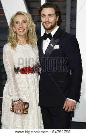 LOS ANGELES - FEB 22:  Sam Taylor-Johnson, Aaron Taylor-Johnson at the Vanity Fair Oscar Party 2015 at the Wallis Annenberg Center for the Performing Arts on February 22, 2015 in Beverly Hills, CA