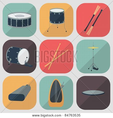 Drum Flat Icons. Flat Design. Shadow. Vector