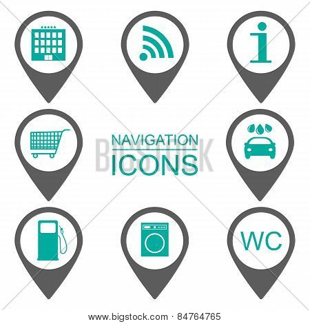 Navigation Icons. Silhouette Icons. Scope Of Services. Flat Design. Vector