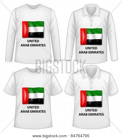 four designs of shirt with United Arab Emirates flag