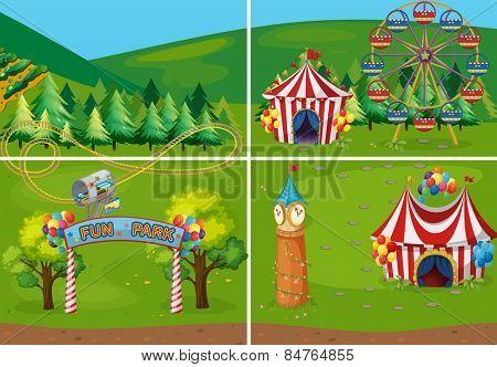 different scenes of carnival