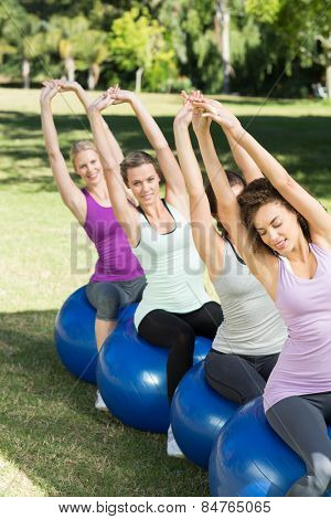 Fitness group sitting on exercise balls on a sunny day