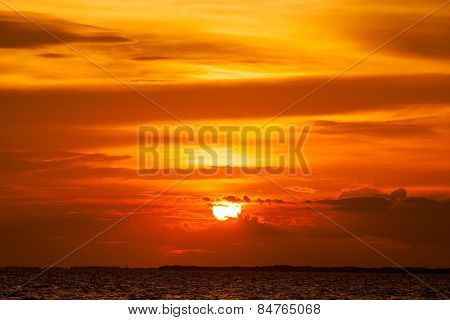 view of beautiful sunset above the sea.