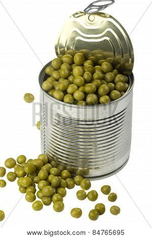 Opened Tin With Green Peas