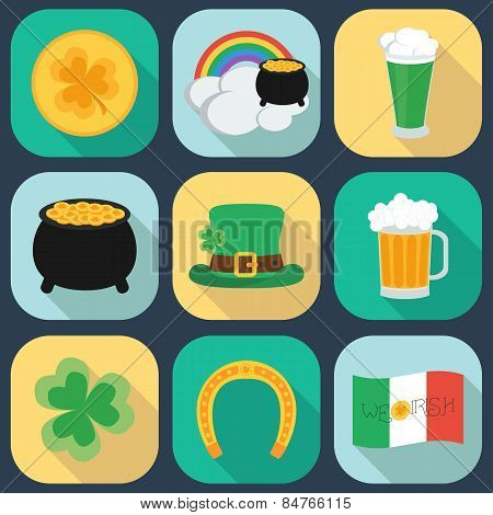 A Set Of Flat Icons On St. Patrick's Day. Shadow. Vector