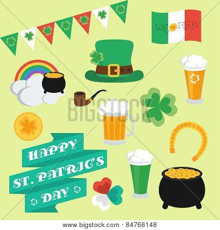 Flat Elements On St. Patrick's Day. Set. Banner. Vector