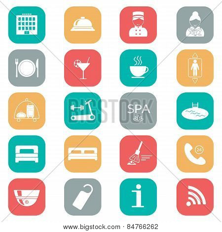 Set Of Hotel Icons. Flat Design. Silhouette. Vector