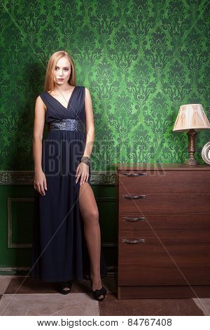 Gorgeous Woman With Long Dress In Vintage Interior