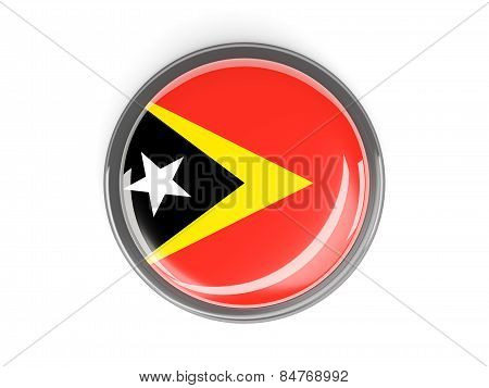 Round Button With Flag Of East Timor