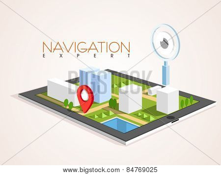 3D view of a map navigation on a tablet with magnifier glass on shiny background.