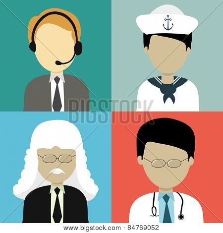 Occupation characters with young business man, ship captain, judge and doctor on colorful background.