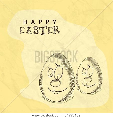 Funny cartoon of eggs on grungy background for Happy Easter celebration.