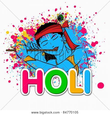 Hindu mythology Lord Krishna playing flute on occasion of Indian festival, Holi celebration.
