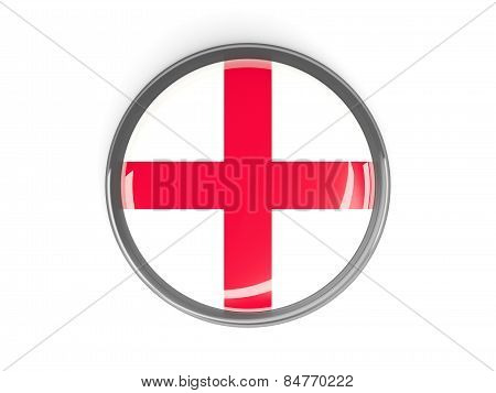 Round Button With Flag Of England