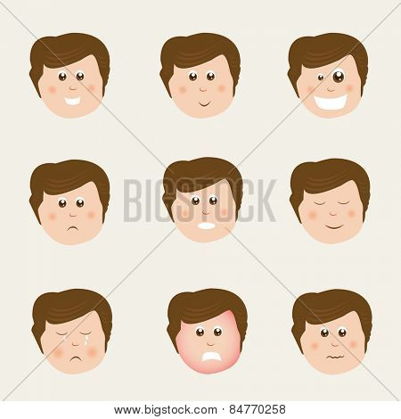 Set of different facial expressions with faces of cute boy cartoon.
