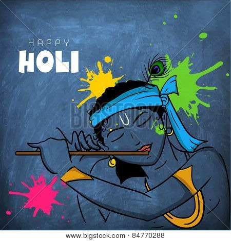 Hindu mythology Lord Krishna playing flute on blue chalkboard on occasion of Indian festival of colors, Happy Holi celebration.