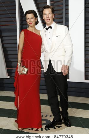 LOS ANGELES - FEB 22:  Sophie Hunter, Benedict Cumberbatch at the Vanity Fair Oscar Party 2015 at the Wallis Annenberg Center for the Performing Arts on February 22, 2015 in Beverly Hills, CA
