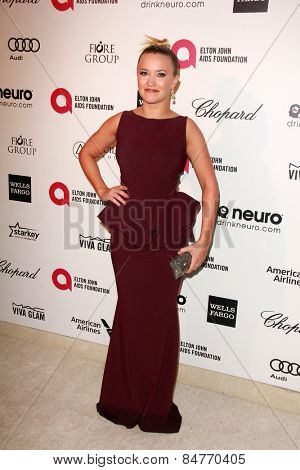 LOS ANGELES - FEB 22:  Emily Osment at the Elton John Oscar Party 2015 at the City Of West Hollywood Park on February 22, 2015 in West Hollywood, CA