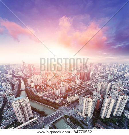 skyline and cityscape of modern city