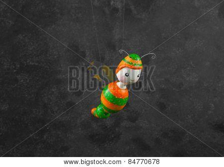 cute puppet handmade, bee,  gray background