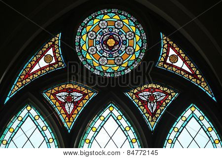 Stained glass window in the Riga Cathedral in Riga, Latvia.