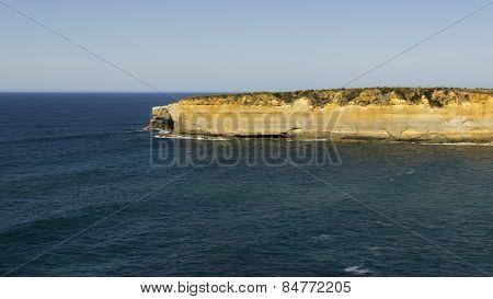 Deep Ocean On Coast Limestone Along Great Ocean Road Way At Australia