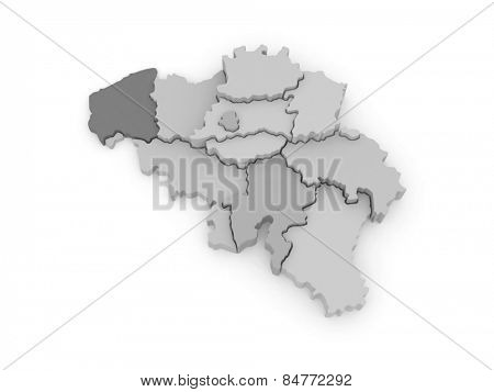 Three-dimensional map of Belgium. 3d