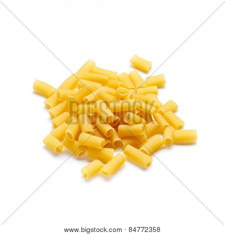 Italian pasta Rigatoni isolated on white background