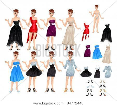 Female avatar with dresses and shoes. Vector illustration, isolated objects. 8 different dresses and 8 shoes.