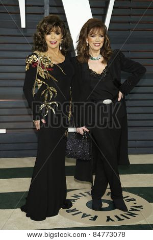 LOS ANGELES - FEB 22:  Joan Collins, Jackie Collins at the Vanity Fair Oscar Party 2015 at the Wallis Annenberg Center for the Performing Arts on February 22, 2015 in Beverly Hills, CA
