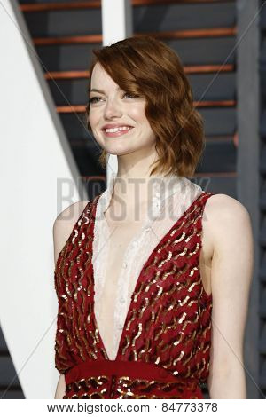 LOS ANGELES - FEB 22:  Emma Stone at the Vanity Fair Oscar Party 2015 at the Wallis Annenberg Center for the Performing Arts on February 22, 2015 in Beverly Hills, CA
