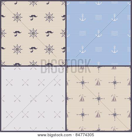 Vector marine symbol seamless pattern