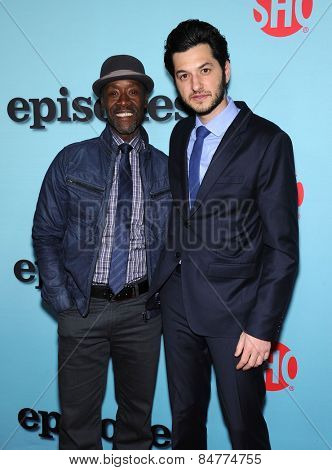 LOS ANGELES - JAN 05:  Don Cheadle & Ben Schwartz arrives to the Showtime celebrates all-new seasons of Shameless, House of Lies and Episodes  on January 5, 2015 in West Hollywood, CA
